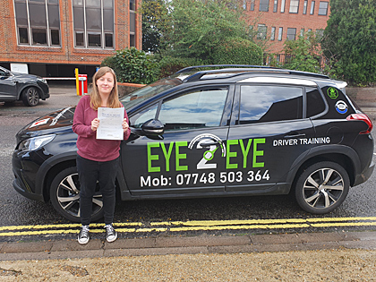 Maddie who passed her driving test first time